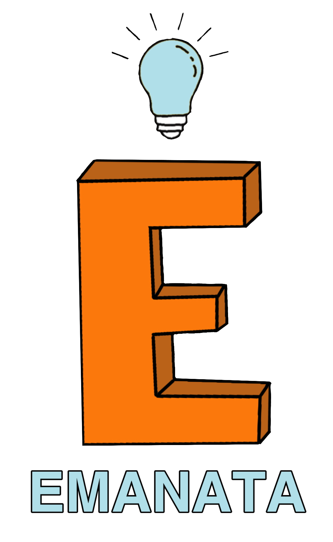 Emanata logo: A large letter E, orange and blocky, with a light blue lightbulb hovering above it. Lines emanate from the lightbulb. The word Emanata is below the E.