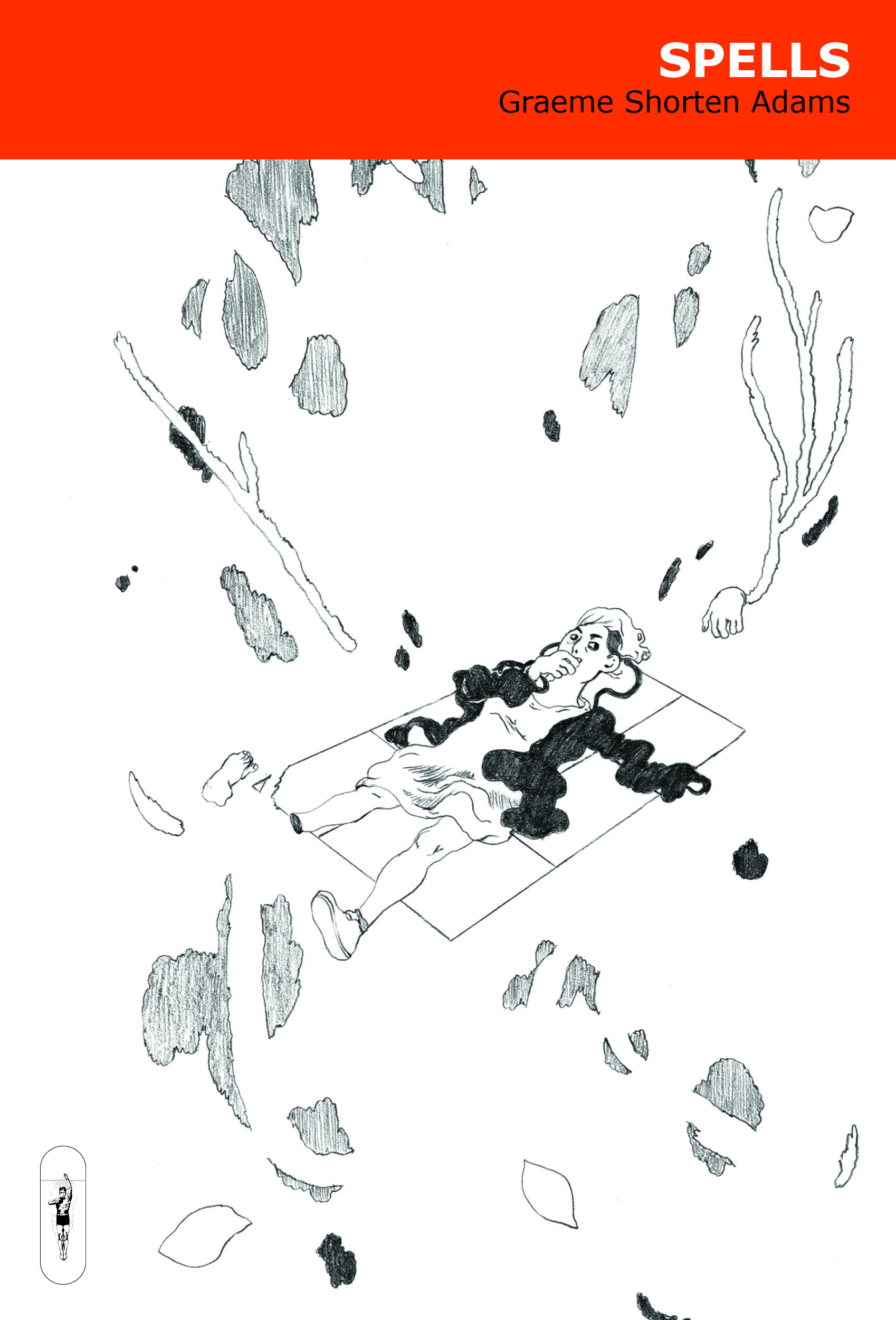 A person lies on a floating platform, with indiscernible objects floating around them. Text: Spells by Graeme Shorten Adams